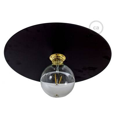 """Oversize Suspension Dish Ellepi in Black painted iron, diameter 15.7"""", Made in Italy"""