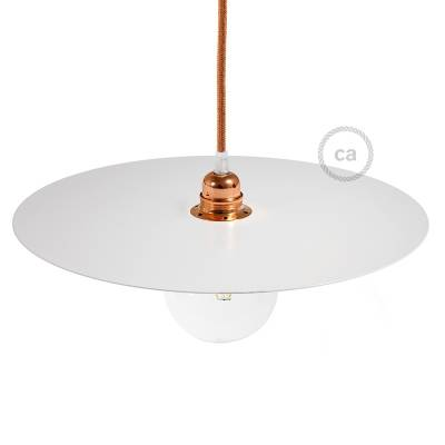 """Oversize Suspension Dish Ellepi in White painted iron, diameter 15.7"""", Made in Italy"""