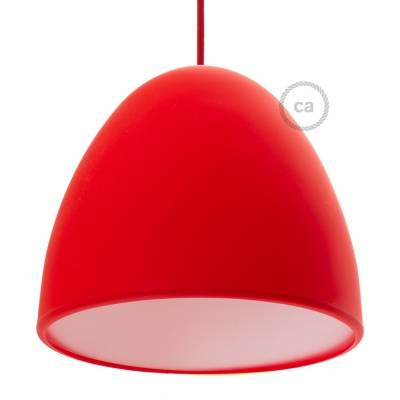 "Silicone Lampshade color red supplied with diffuser and strain relief. Diameter cm 9-13/16""."