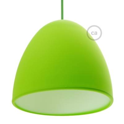 "Silicone Lampshade color lime green supplied with diffuser and strain relief. Diameter cm 9-13/16""."