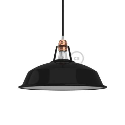 "Harbour Lampshade - E26 metal 11.80"" diameter, black polish with white interior"