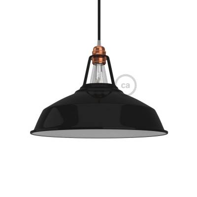 "Harbour Lampshade - E26 metal 15"" diameter, black polish with white interior"