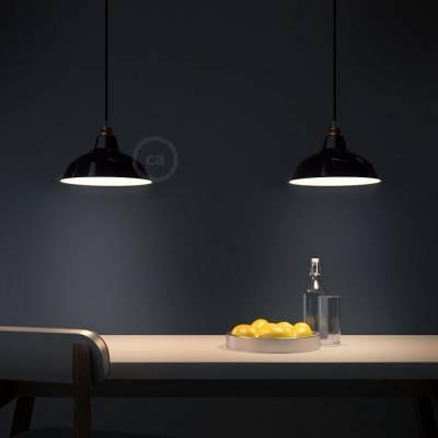 "Bistrot Lampshade - E26 metal 11.80"" diameter, black polish with white interior"