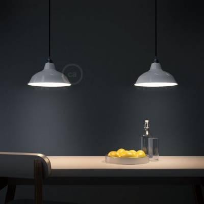 "Bistrot Lampshade - E26 metal 11.80"" diameter, white polish with white interior"