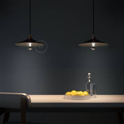 Swing Lampshade - E26 concave metal plate, black satin finish with black interior