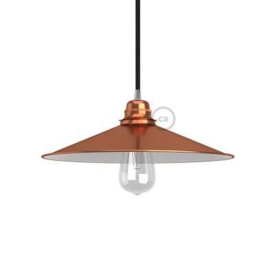Swing Lampshade - E26 concave metal plate, copper finish with white polish interior