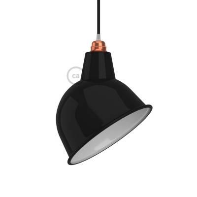 Broadway Lampshade E26 metal, black polish with white interior