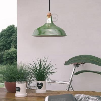 "Harbour Lampshade - E26 metal 11.80"" diameter, green polish with white interior"