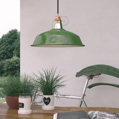 "Harbour Lampshade - E26 metal 15"" diameter, green polish with white interior"