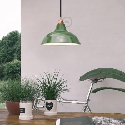 "Bistrot Lampshade - E26 metal 11.80"" diameter, green polish with white interior"