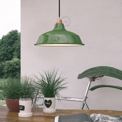 "Bistrot Lampshade - E26 metal 15"" diameter, green polish with white interior"