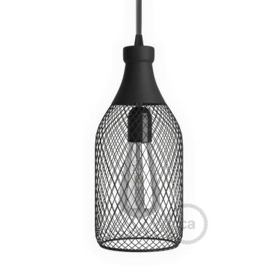 Bottle-shaped naked light bulb cage lampshade Jéroboam black colored metal