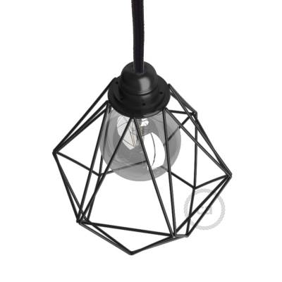 Naked light bulb cage lampshade Diamond Black colored metal E26 fitting