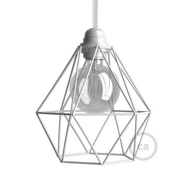 Naked light bulb cage lampshade Diamond White colored metal E26 fitting