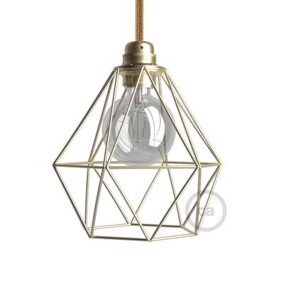 Naked light bulb cage lampshade Diamond Brass finished metal E26 fitting
