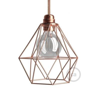 Naked light bulb cage lampshade Diamond Copper finished metal E26 fitting