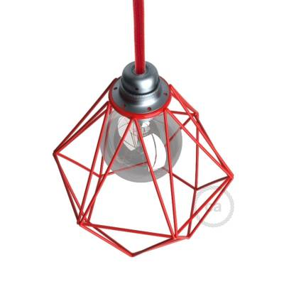 Naked light bulb cage lampshade Diamond Red colored metal E26 fitting