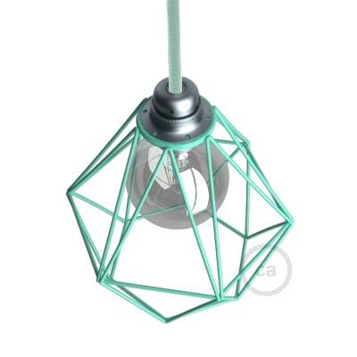 Naked light bulb cage lampshade Diamond Turquoise colored metal E26 fitting