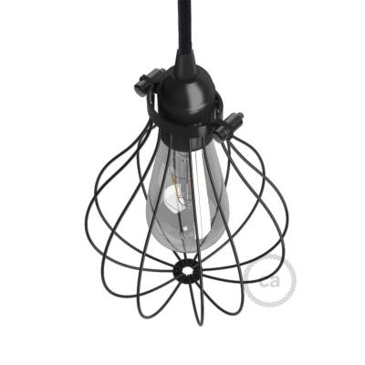 Naked light bulb cage lampshade Drop Black colored metal adjustable collar closure