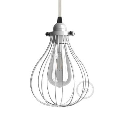 Naked light bulb cage lampshade Drop White colored metal adjustable collar closure