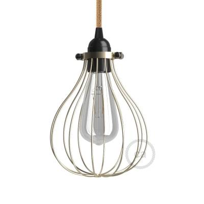 Naked light bulb cage lampshade Drop Brass finished metal adjustable collar closure