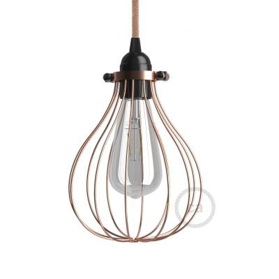 Naked light bulb cage lampshade Drop Copper finished metal adjustable collar closure