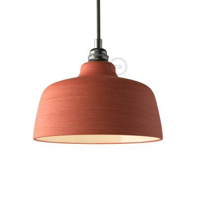 Materia Ceramic Cup lampshade, streaked Coral Red with polished interior white, Made in Italy
