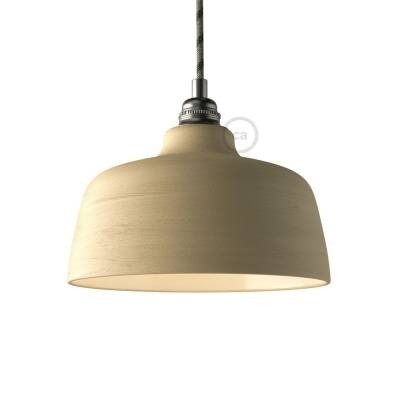 Materia Ceramic Cup lampshade, streaked Dove Grey with polished interior white, Made in Italy