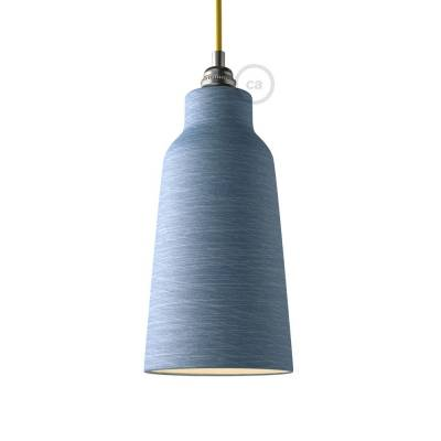Materia ceramic Bottle lampshade, streaked Avion with polished interior white, Made in Italy