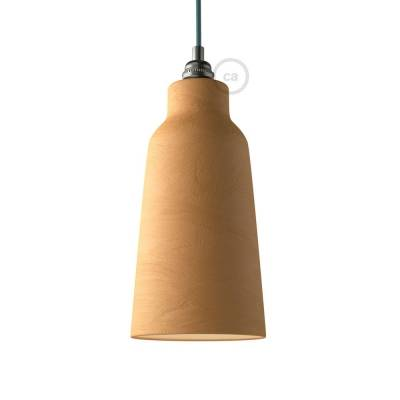 Materia ceramic Bottle lampshade, streaked Terracotta with polished interior white, Made in Italy