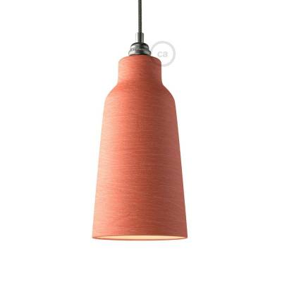 Materia ceramic Bottle lampshade, streaked Coral Red with polished interior white, Made in Italy