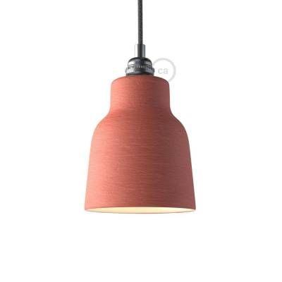 Materia ceramic Vase lampshade, streaked Coral Red with polished interior white, Made in Italy