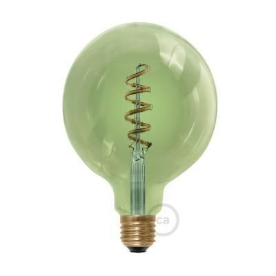 LED Emerald Light Bulb - Globe G40 Curved Spiral Filament