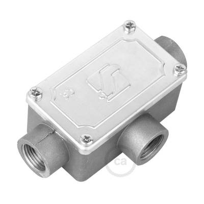 Three-outlet, T-shaped Junction box for Creative-Tube, aluminium case