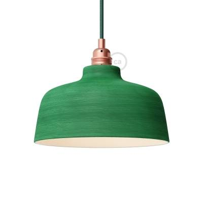 Streaked Evergreen Materia Ceramic Cup Lamp Shade, polished white inside, Hand Made in Italy