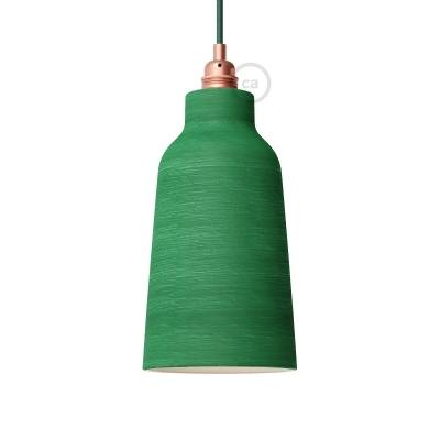 Streaked Evergreen Materia Ceramic Bottle Lamp Shade, polished white inside, Hand Made in Italy