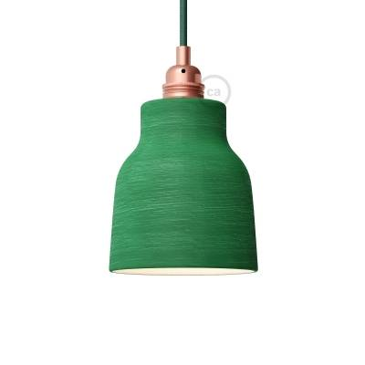 Streaked Evergreen Materia Ceramic Vase Lamp Shade, polished white inside, Hand Made in Italy
