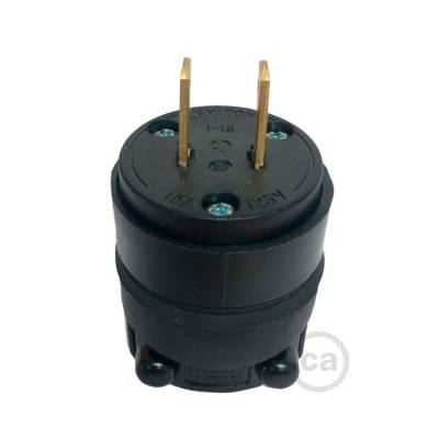 Black Rubberized Two Prong Plug for string lights