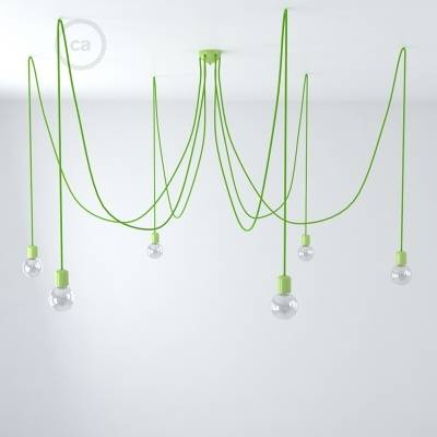 Green ceramic spider, multiple suspension with 6-7 pendant, RM18 green cable