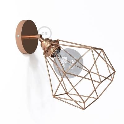 Fermaluce Metallo 90° Copper finish adjustable with Diamond lampshade, the metal wall flush light