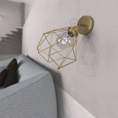 Fermaluce Metallo 90° Brass finish adjustable with Diamond lampshade, the metal wall flush light