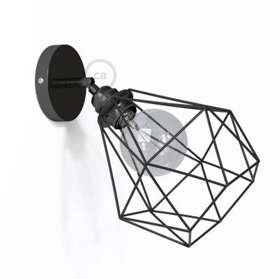Fermaluce Metallo 90° Black Pearl adjustable with Diamond lampshade, the metal wall flush light