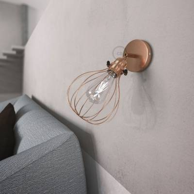 Fermaluce Metallo 90° Copper finish adjustable with Drop lampshade, the metal wall flush light