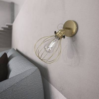 Fermaluce Metallo 90° Brass finish adjustable with Drop lampshade, the metal wall flush light