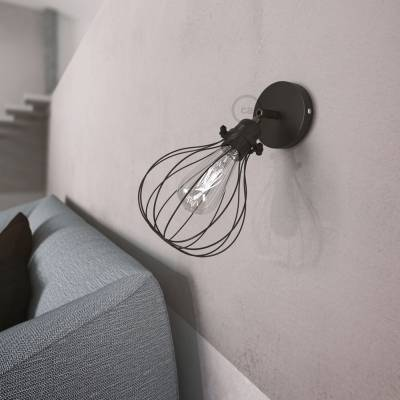 Fermaluce Metallo 90° Black Pearl adjustable with Drop lampshade, the metal wall flush light
