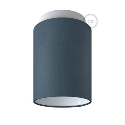 "Fermaluce with Petrol Blue Cinette Cylinder Lampshade, white metal, Ø 5.90"" h7.10"", for wall or ceiling mount"