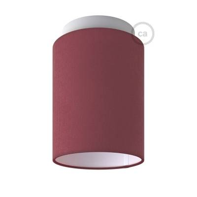 "Fermaluce with Burgundy Canvas Cylinder Lampshade, white metal, Ø 5.90"" h7.10"", for wall or ceiling mount"