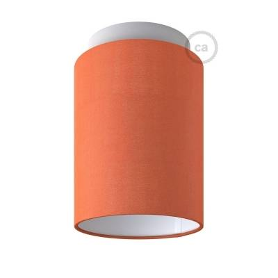 "Fermaluce with Lobster Cinette Cylinder Lampshade, white metal, Ø 5.90"" h7.10"", for wall or ceiling mount"