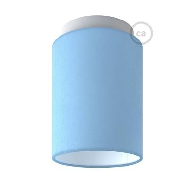 "Fermaluce with Heavenly Blue Canvas Cylinder Lampshade, white metal, Ø 5.90"" h7.10"", for wall or ceiling mount"