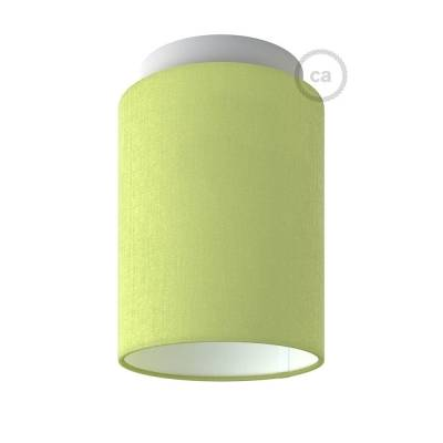 "Fermaluce with Olive Green Canvas Cylinder Lampshade, white metal, Ø 5.90"" h7.10"", for wall or ceiling mount"